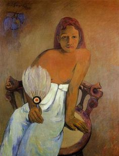 Girl with a Fan, 1902 by Paul Gauguin, 2nd Tahiti period. Post-Impressionism. portrait. Folkwang Museum, Essen, Germany