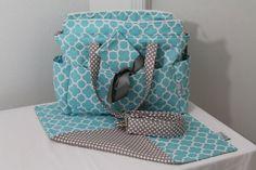 XL Diaper Bag Set w/ Wet Bag, Key Fob, and Adjustable Strap-Made to Order #iloverileyblake #quatrefoil