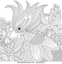 Exotic zentangle cockatoo parrot for adult anti stress coloring pages, book, bird head with tropical flowers, plants for art therapy, greeting card. Hand drawn patterned illustration.