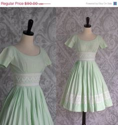 Vintage 1950s Dress 50s Dress Green Cocktail Dress Mint Green Dress with Full Skirt 1950s Clothing Womens Size XXS
