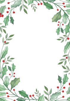 Leaf & Holly Border - Christmas Invitation Template (Free Blatt u. Christmas Frames, Noel Christmas, Christmas Pictures, Christmas Design, Christmas Walpaper, Christmas Posters, Christmas Quotes, Christmas Greetings, Vintage Christmas