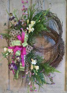 Silk Flower Wreath-Grapevine Wreath-Front Door Wreath-Summer