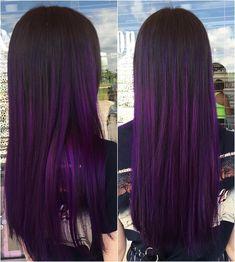 Natural dark brown to violet ombre using pravana vivids hair Dark Purple Hair, Brown Ombre Hair, Hair Color Purple, Hair Color And Cut, Cool Hair Color, Brown To Purple Ombre, Violet Hair Colors, Grunge Hair, Hair Looks