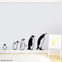 March Of The Penguins Wall Decal - Baby Animal Decal, Zoo Nursery, Zoo Party Decor, Animal Party Decor, Penguin Decal, Penguin Family by WallumsWallDecals on Etsy https://www.etsy.com/listing/243998288/march-of-the-penguins-wall-decal-baby