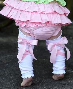 RuffleButts.com - Ballet Bow LegWarmers.. I could not resist i bought these leg warmers for Paisley! :)
