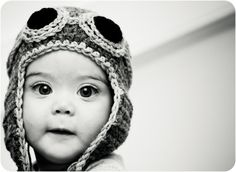 This is a level of cute that I just can't handle!  LOVE!!!  Aviator Hat Crochet Custom Baby Child Toddler Pilot Bomber