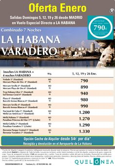 Oferta Enero Combi Cuba 7 noches desde 790€ Tasas incluidas. Salidas Domingos 5, 12, 19 y 26 ultimo minuto - http://zocotours.com/oferta-enero-combi-cuba-7-noches-desde-790e-tasas-incluidas-salidas-domingos-5-12-19-y-26-ultimo-minuto/