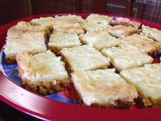 Favorite Tailgate Recipe: Cheesecake Squares | Lee, Hill and Johnston Insurors… Cheesecake Squares, Cheesecake Recipes, Tailgate Food, Tailgating, Statesboro Georgia, Sweet Bar, Black Doors, Cookie Bars, New Recipes