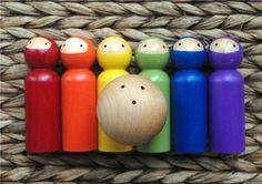 NINJA Bowling Set Waldorf Toy Skittles Game by IndieBambinos, $35.00
