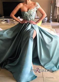 Glamorous Appliques One-Shoulder Split Long Prom Dress_High Quality Wedding Dresses, Prom Dresses, Evening Dresses, Bridesmaid Dresses, Homecoming Dress - 27DRESS.COM