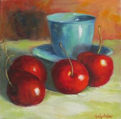 Still Life Painting Red Cherries and by OilPaintingsByCheri