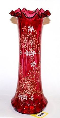 "*MOSER ~ Fluted top, Cranberry Vase w/ enamel Decoration 14"" Signed Moser."