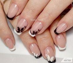 Borboletas na unha. Design de unhas em preto e branco - Nagelideen :-) - Nail Tip Designs, French Nail Designs, Nails Design, Art Designs, Design Ideas, Fun Nails, Pretty Nails, Nail Manicure, Nail Polish
