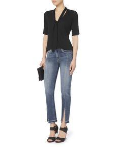 Le Nouveau Crop Split Front Jeans, DENIM, hi-res