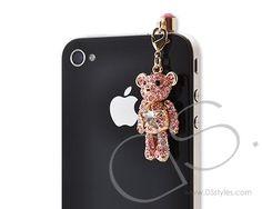 Animal Crystal Headphone Jack Plug - Bear Pink   #crystal  http://www.dsstyles.com/accessories/jack-plug-animal-crystal-headphone-bear-pink.html?src=pinterest