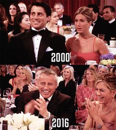 Notice 16 years later and #Rachel is almost dressed exactly the same..#Friends: Joey & Rachel aka Matt & Jennifer. Aww