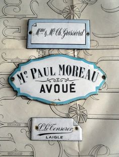 Love these french enamel plaques, perfect for naming the rooms in a big property