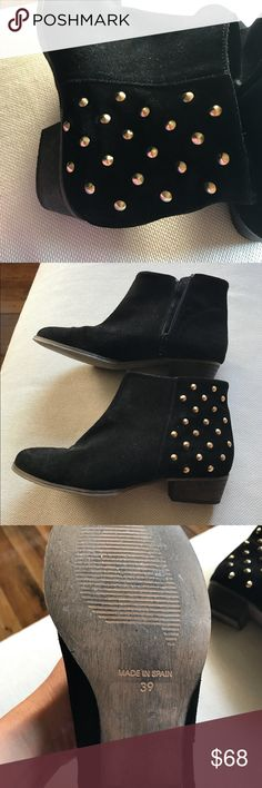 Charles David booties Comfortable, great for walking! Black suede with gold embellishments. Side zipper. Worn once! Charles David Shoes Ankle Boots & Booties