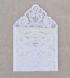Vintage Lace Envelopes SALE set of 5 seen in Weddingbells Magazine Vintage Paper Doily Envelopes