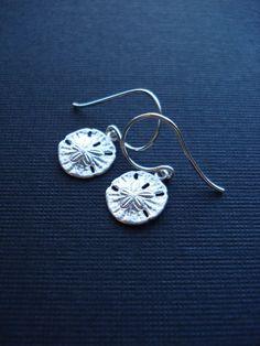 Small Sand Dollar Drop Earrings In Sterling Silver. Sand Dollar Jewelry, Dangle…