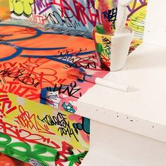 French graffiti artist Tilt has swamped one half of a Marseille hotel room in decoration, while the other half remains completely blank.