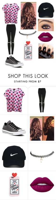 """""""Boys seem to like the girls Who like to kiss and tell"""" by jrtominski ❤ liked on Polyvore featuring Valfré, Topshop, Converse, Nike Golf, Wet Seal and Lime Crime"""