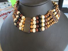 """Wooden Handmade 4-Strand Choker Necklace - adjustable to 16 1/2"""" Length - colors: black, cream & shades of brown by LsFindsandCreations on Etsy"""