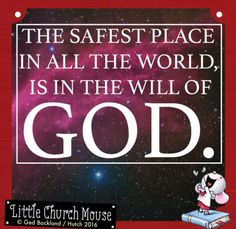 ♡✞♡ The safest place in all the world, is in the will of God. Amen...Little Church Mouse 15 August 2016 ♡✞♡