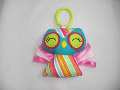 Baby Owl Rattle Hand made taggie owl rattle Owl toy by cocomia, $16.00