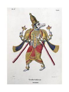 Giclee Print: Vishnu, One of the Gods of the Hindu Trinity (Trimurt), 1828 : 24x18in