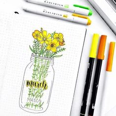 Bullet journal monthly cover page, March cover page, flowers in Mason jar drawin. Bullet journal monthly cover page, March cover page, flowers in Mason jar drawing. Journal Guide, Planner Bullet Journal, March Bullet Journal, Bullet Journal Cover Page, Bullet Journal Spread, Bullet Journal Layout, Bullet Journal Ideas Pages, Journal Covers, Bullet Journal Inspiration