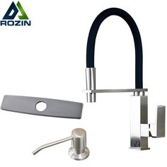 Modern Bathroom Kitchen Single Lever Kitchen Mixer Water Faucet Brushed nickel Soap Dispenser 3 Hole Cover Plate