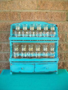 Upcycled Painted Light Blue Spice Rack Retro Rooster Wood Wooden Wall Hanging…