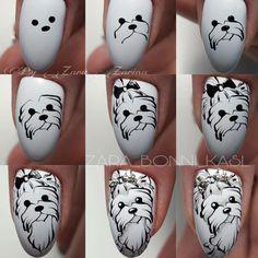 Look at these gel christmas nails Dog Nail Art, Animal Nail Art, Dog Nails, Crazy Nail Designs, Nail Polish Designs, Nail Art Designs, Nail Art Hacks, Nail Art Diy, Cute Nails