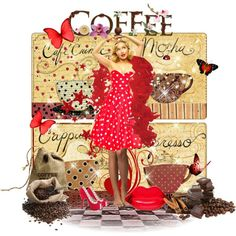 The Coffee Craze by celeste-menezes on Polyvore featuring Bettie Page and Lulu Guinness