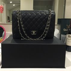Chanel Caviar Maxi Selling my excellent condition caviar maxi~ no flaws.. Purchased @ the Chanel boutique in bellagio, Las Vegas. full set, NO TRADES, Serious inquires only. (Box, dust bag, care card, authentic card/matches serial sticker inside the bag, recipes, tags) CHANEL Bags Shoulder Bags
