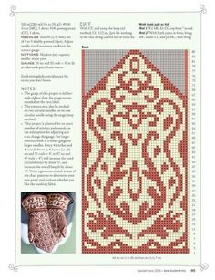 knitting this in olive and cream. The cuffs are huge, so adjusted to 84 stitches cast on Knitting Charts, Knitting Stitches, Hand Knitting, Knitting Patterns, Knitted Mittens Pattern, Knit Mittens, Knitted Gloves, Fair Isle Chart, Knitting Magazine