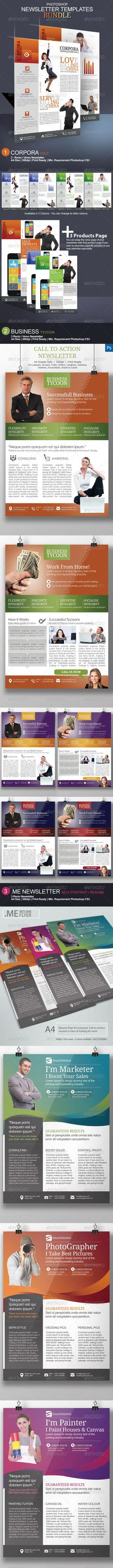 Newsletter Photoshop Templates - #Newsletters Print #Templates Download here: https://graphicriver.net/item/newsletter-photoshop-templates/8248425?ref=alena994