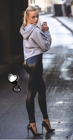 Leather pants street style