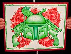 """Star Wars, Boba Fett, Day of the Dead Sugar Skull (Dia De Los Muertos) 11 x14"""" Limited Fine Art Print"""