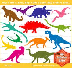 Dinosaur Silhouette Clip Art ---- Personal and Small Commercial Use ---- BB 0071 on Etsy, $5.00