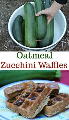 I don't know what the zucchini situation is like at your house these days, but at our place we are on zucchini overload. Last night I tried out a new zucchini recipe and HOLY COW MAN… after just one bite I knew I had a winner. In fact, these zucchini oatm Oatmeal Waffles, Breakfast Waffles, Pancakes And Waffles, Breakfast Sandwiches, Breakfast Bowls, Breakfast Ideas, Healthy Waffles, Healthy Snacks, Healthy Recipes