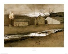 """Last Light"""" by Andrew Wyeth. A painting of his Brinton's Mill with a Christmas tree on top of a pole. Available as a print. Andrew Wyeth Paintings, Andrew Wyeth Art, Landscape Paintings, Watercolor Paintings, Barn Paintings, Landscapes, Brandywine River, New Fine Arts, Gallery Website"""