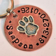 DOG TAG Perfect Paw 1inch copper and sterling pet id $16