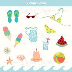 Summer Vector Clipart Digital Beach Clip Art by DigitalSugar