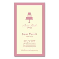Tiered Cake Business Card - Pink Business Card Templates