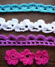 "From ""Crochet Edgings and Trims"" by Susan Smith; ""Crochet stitch Motifs"" by Erika Knight; ""Beyond the Square Crochet Motifs"" by Edie Eckman Crochet Motifs, Crochet Borders, Crochet Trim, Knit Or Crochet, Crochet Crafts, Yarn Crafts, Crochet Stitches, Crochet Hooks, Sewing Crafts"