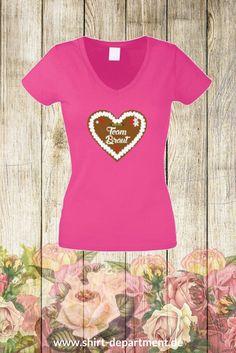 Team Braut - Damen T-Shirt mit Lebkuchenherz für den #Junggesellinnenabschied - Größen XS bis XXL