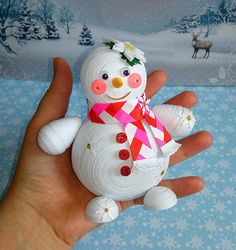 Set of 2 Christmas ornament Personalized snowman 3D quilling