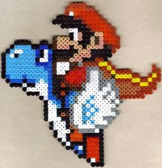 Caped Mario on blue Yoshi by Strago-Magus on DeviantArt